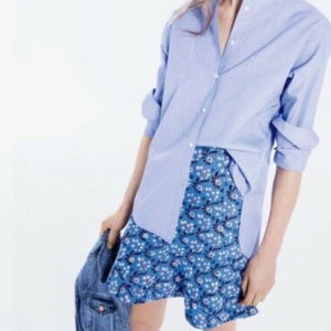 J CREW Xs 0 blue Flutter mini skirt vintage print